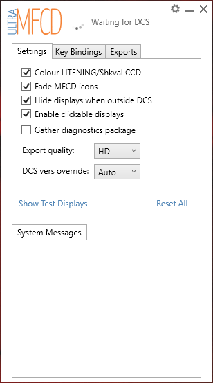 UltraMFCD Settings Screen